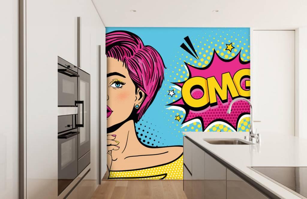 Moderne Tapete - Pop-Art-Frau - Jugendzimmer 4