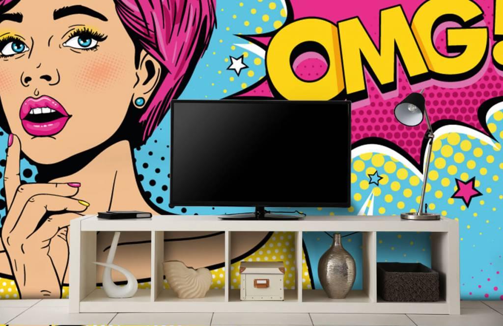 Moderne Tapete - Pop-Art-Frau - Jugendzimmer 5