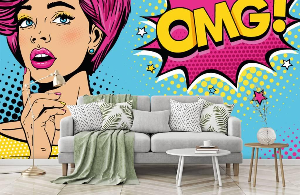 Moderne Tapete - Pop-Art-Frau - Jugendzimmer 8