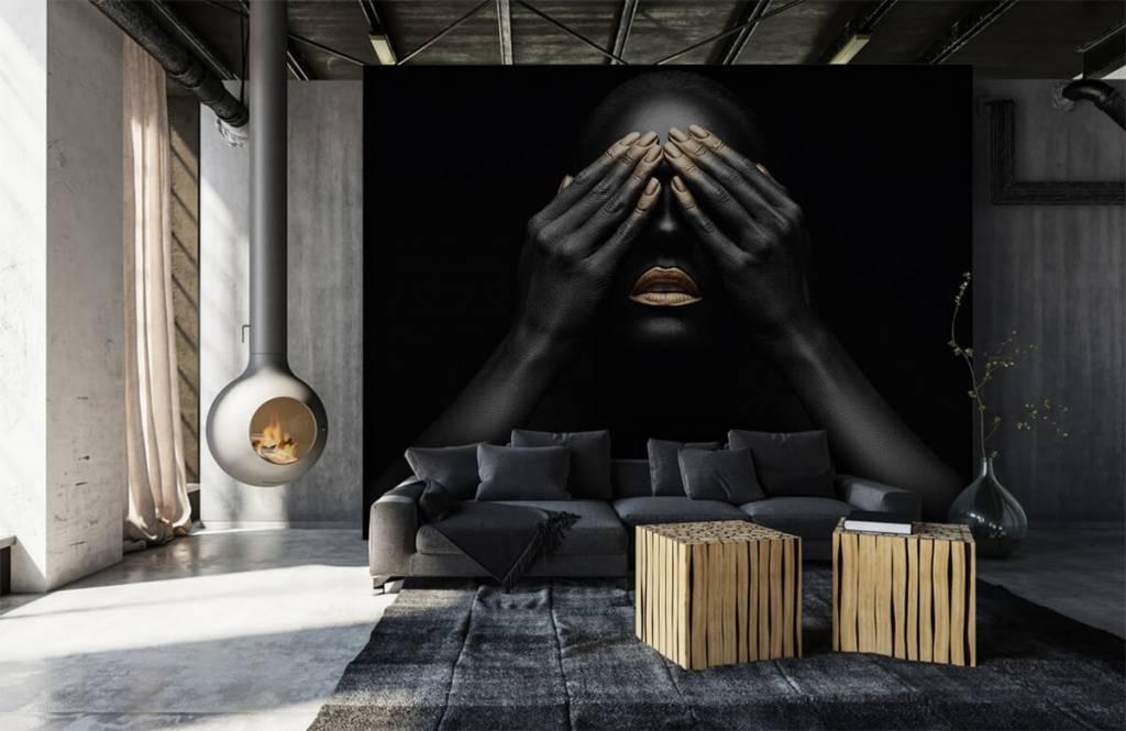 Moderne Tapete - Goldene Nägel - Wohnzimmer 1