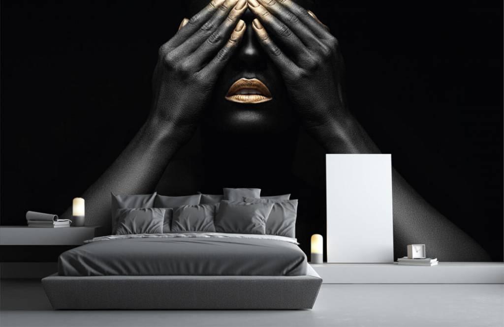 Moderne Tapete - Goldene Nägel - Wohnzimmer 3