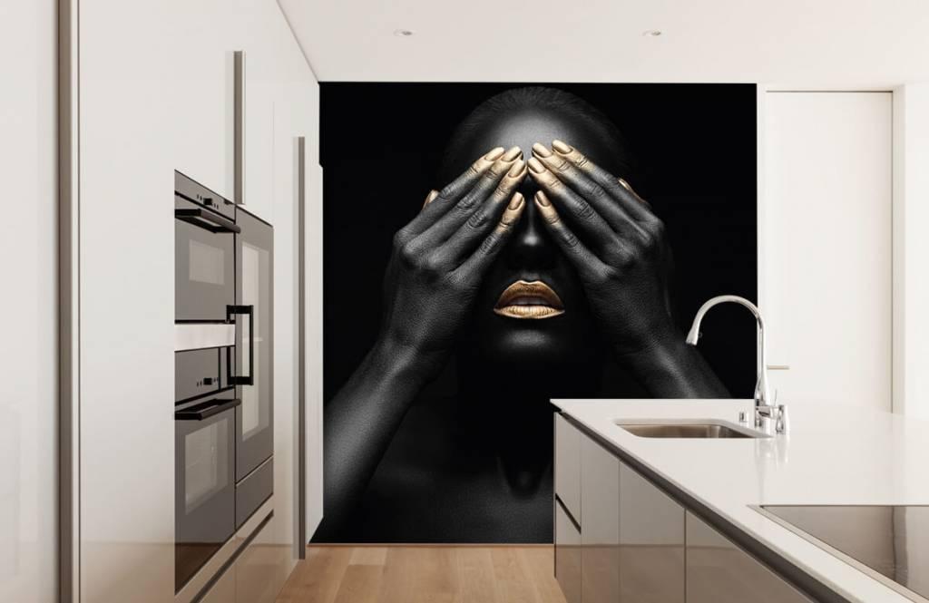 Moderne Tapete - Goldene Nägel - Wohnzimmer 4