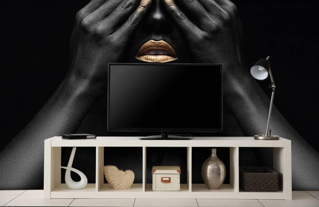 Moderne Tapete - Goldene Nägel - Wohnzimmer 5