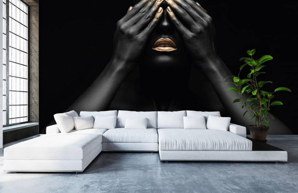 Moderne Tapete - Goldene Nägel - Wohnzimmer 6
