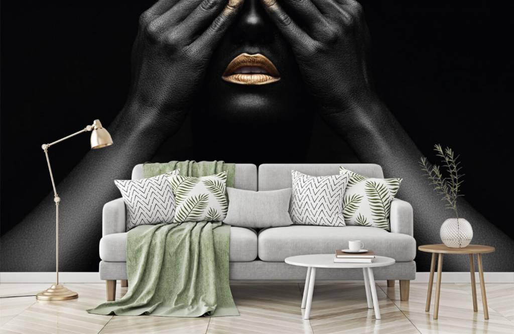 Moderne Tapete - Goldene Nägel - Wohnzimmer 7