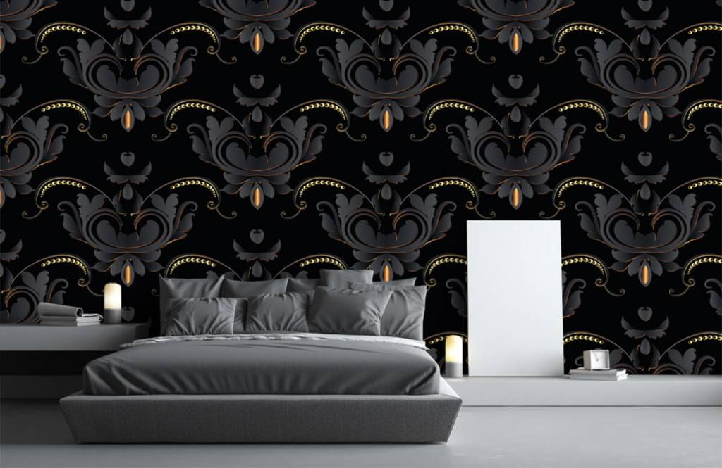 Barock Tapete - Schwarzes Gold Barockmuster - Schlafzimmer 1