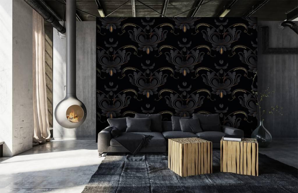 Barock Tapete - Schwarzes Gold Barockmuster - Schlafzimmer 2