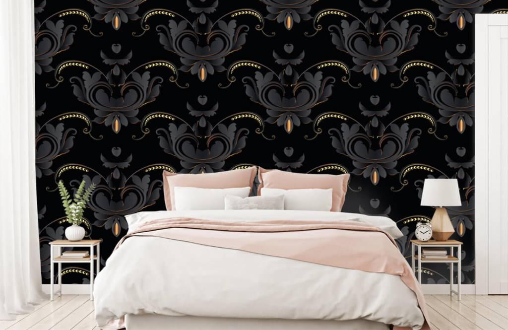 Barock Tapete - Schwarzes Gold Barockmuster - Schlafzimmer 3