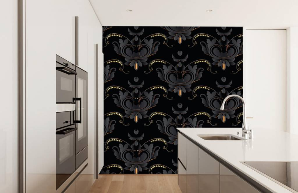 Barock Tapete - Schwarzes Gold Barockmuster - Schlafzimmer 4