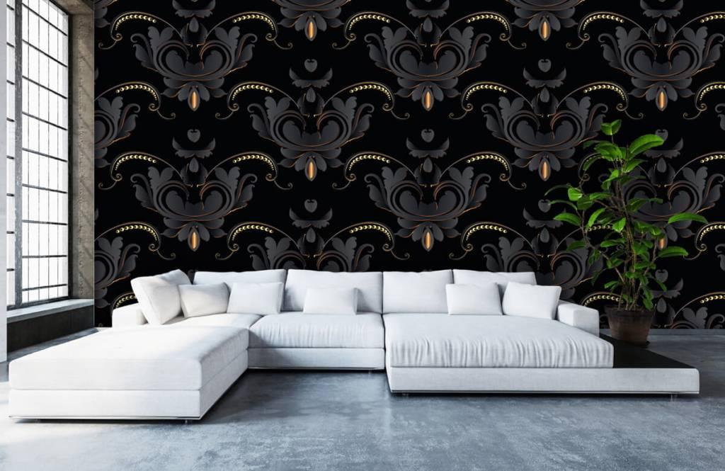 Barock Tapete - Schwarzes Gold Barockmuster - Schlafzimmer 6