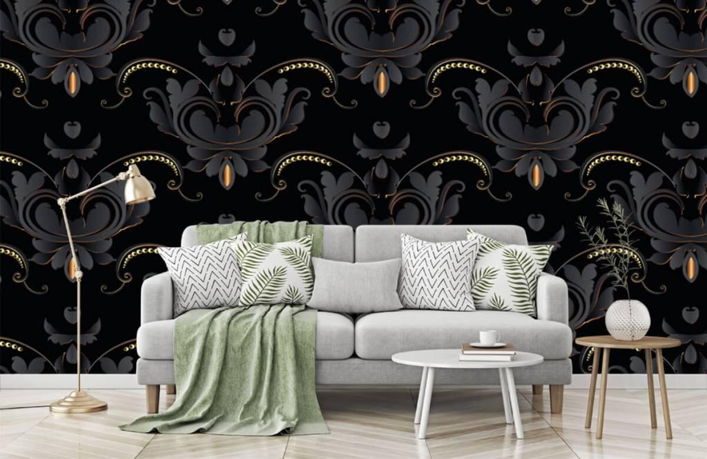 Barock Tapete - Schwarzes Gold Barockmuster - Schlafzimmer 7