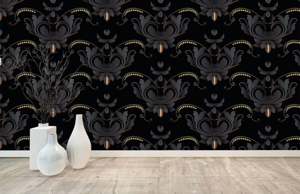 Barock Tapete - Schwarzes Gold Barockmuster - Schlafzimmer 8
