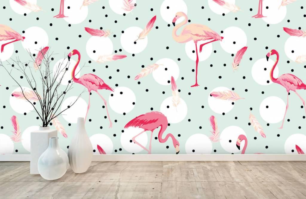 Kinder Tapete - Flamingos und Federn - Kinderzimmer 1