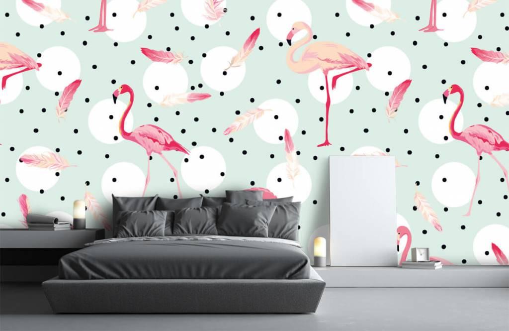 Kinder Tapete - Flamingos und Federn - Kinderzimmer 3