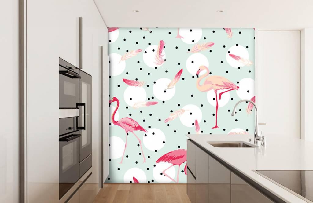 Kinder Tapete - Flamingos und Federn - Kinderzimmer 4