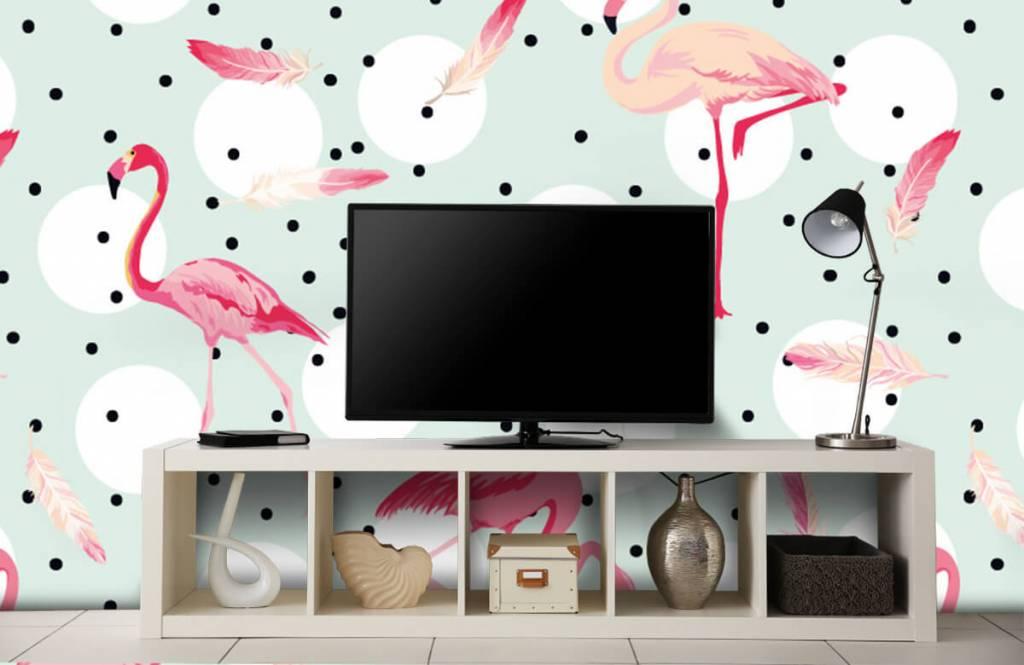 Kinder Tapete - Flamingos und Federn - Kinderzimmer 5