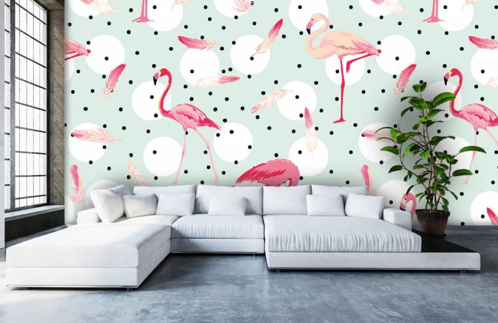 Kinder Tapete - Flamingos und Federn - Kinderzimmer 6