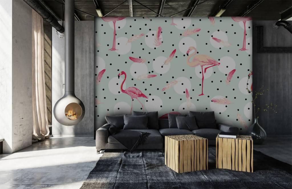 Kinder Tapete - Flamingos und Federn - Kinderzimmer 7