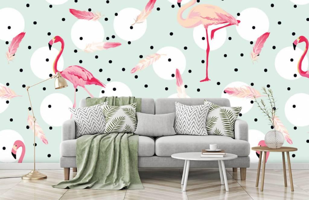 Kinder Tapete - Flamingos und Federn - Kinderzimmer 8