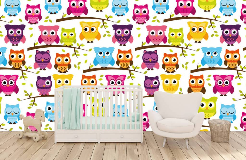 Vogel Tapete - Tapete mit farbigen Eulen - Babyzimmer 2