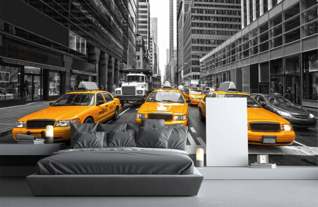 Schwarzweiß Tapete - Taxi New York - Jugendzimmer 3