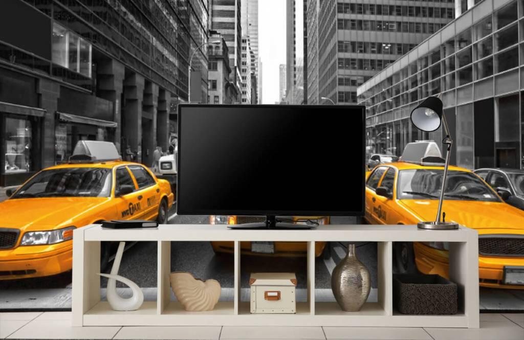 Schwarzweiß Tapete - Taxi New York - Jugendzimmer 5