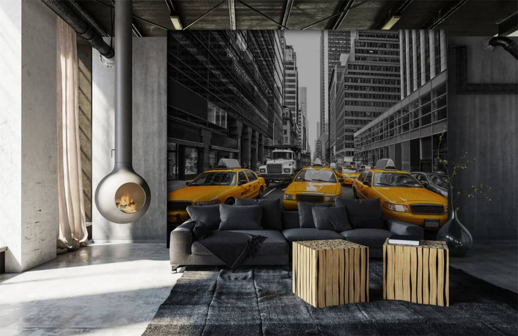 Schwarzweiß Tapete - Taxi New York - Jugendzimmer 6
