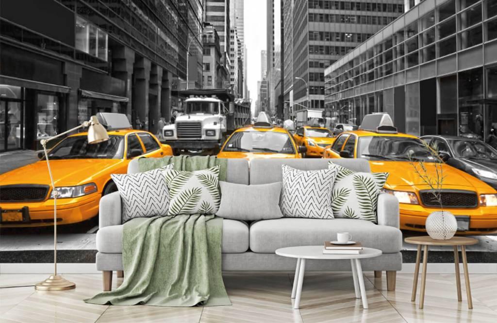 Schwarzweiß Tapete - Taxi New York - Jugendzimmer 7