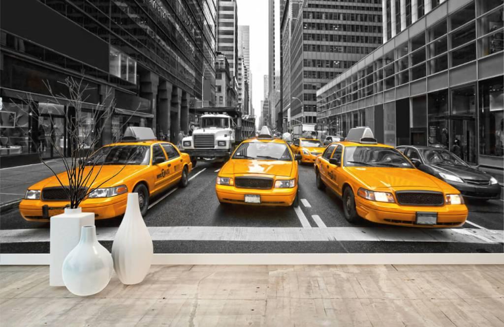 Schwarzweiß Tapete - Taxi New York - Jugendzimmer 8