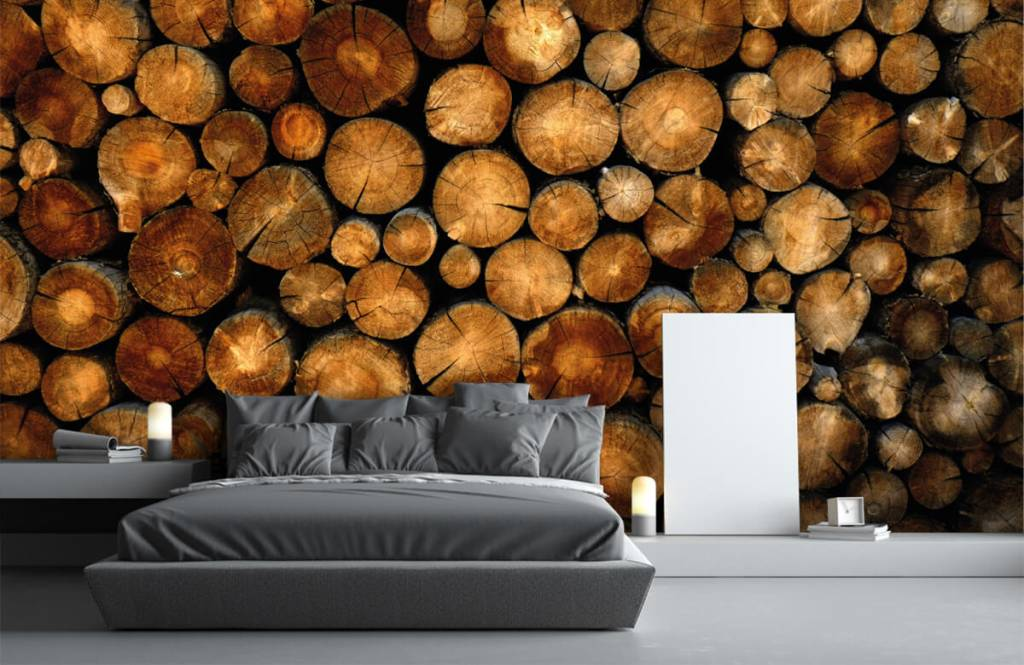 Holz Tapete - abgesägte Bäume - Schlafzimmer 3