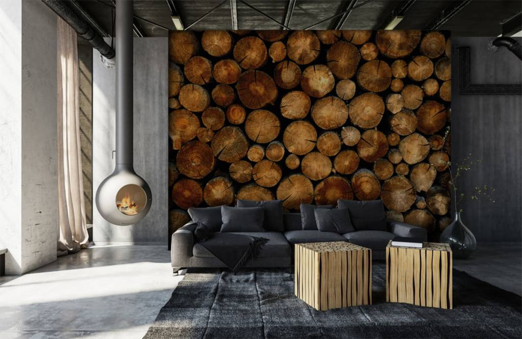 Holz Tapete - abgesägte Bäume - Schlafzimmer 6