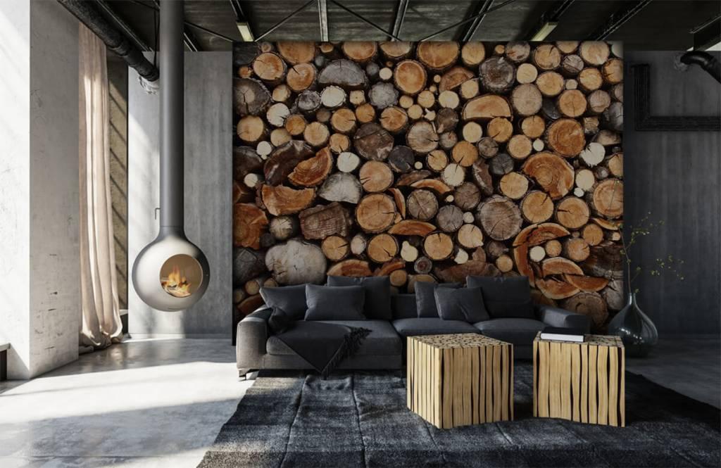 Holz Tapete - Gestapelte Stämme - Wohnzimmer 1