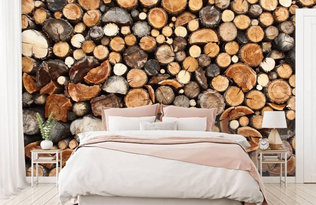 Holz Tapete - Gestapelte Stämme - Wohnzimmer 2