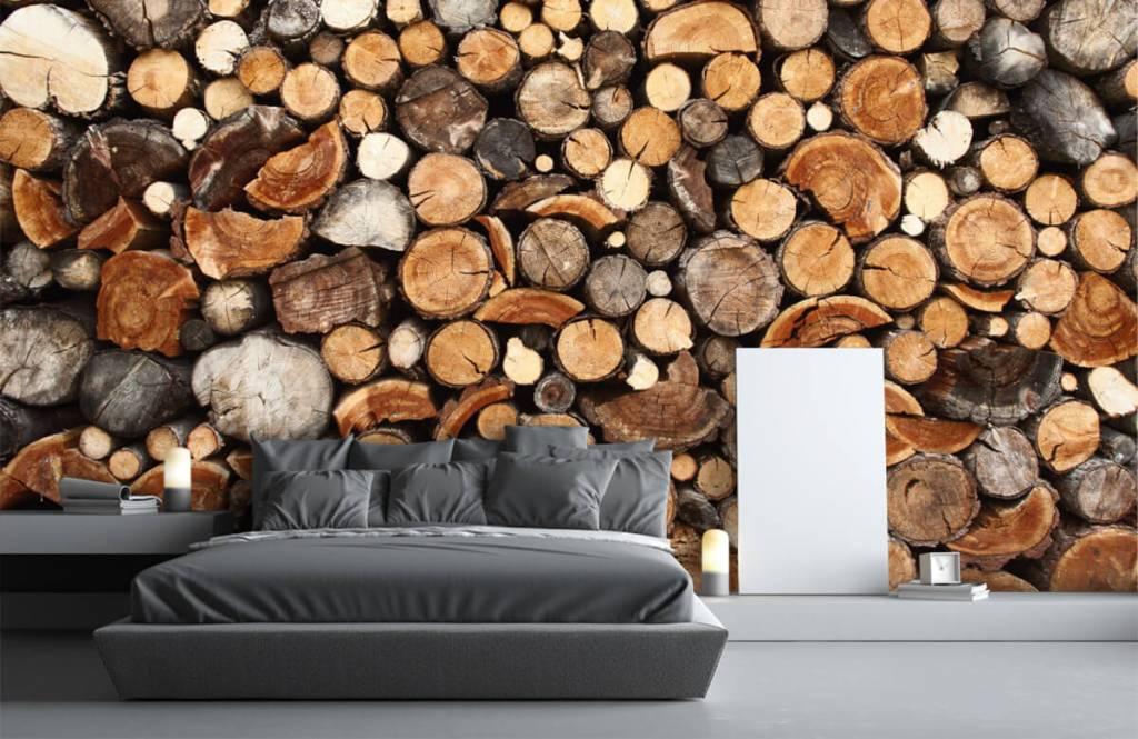 Holz Tapete - Gestapelte Stämme - Wohnzimmer 3