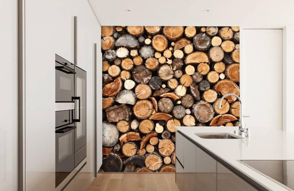 Holz Tapete - Gestapelte Stämme - Wohnzimmer 4