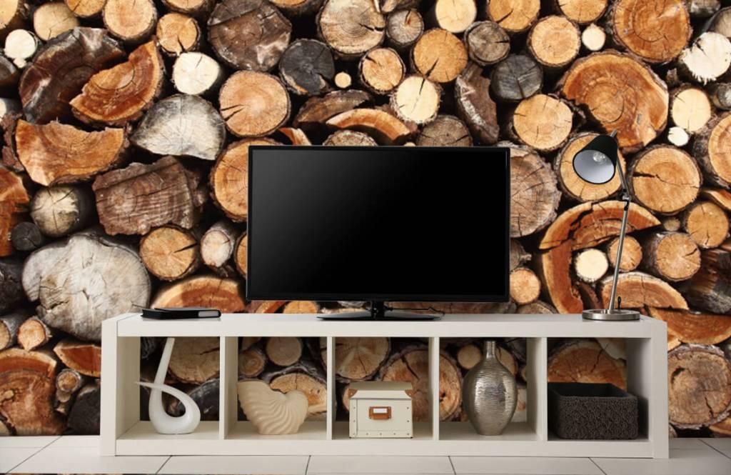 Holz Tapete - Gestapelte Stämme - Wohnzimmer 5