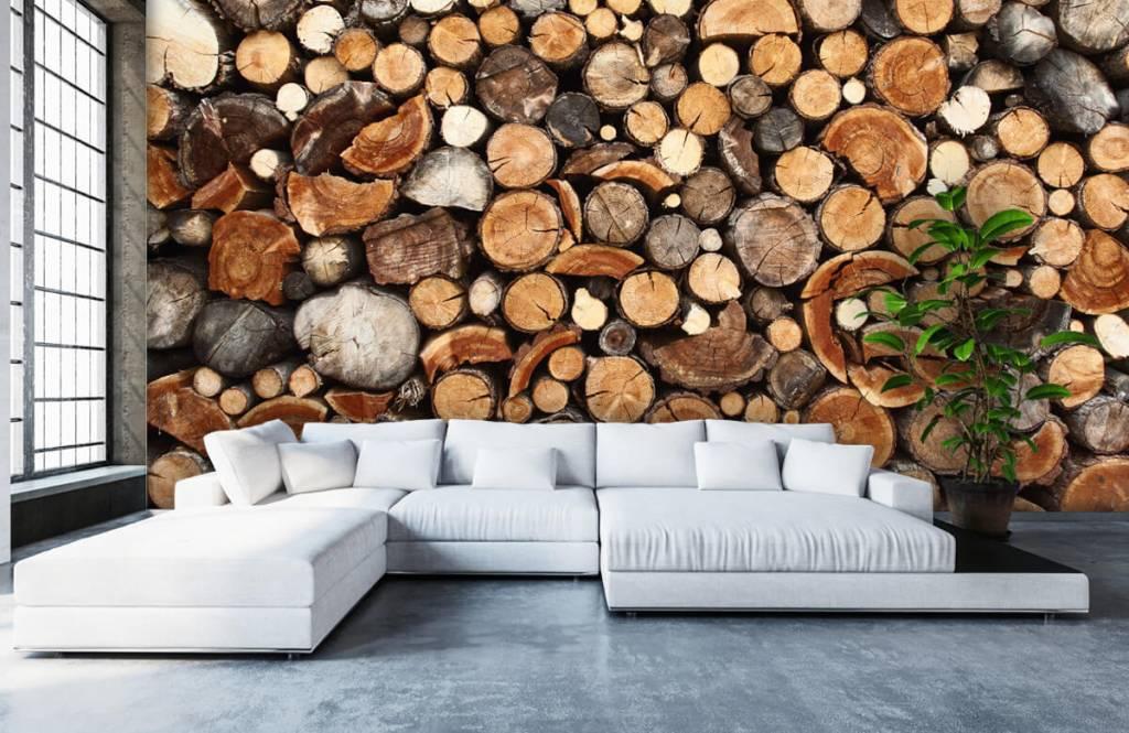 Holz Tapete - Gestapelte Stämme - Wohnzimmer 6
