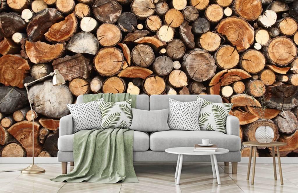 Holz Tapete - Gestapelte Stämme - Wohnzimmer 7