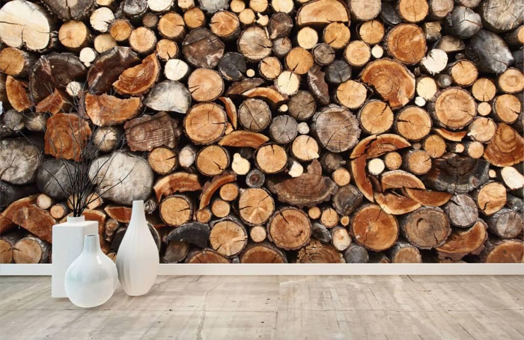 Holz Tapete - Gestapelte Stämme - Wohnzimmer 8
