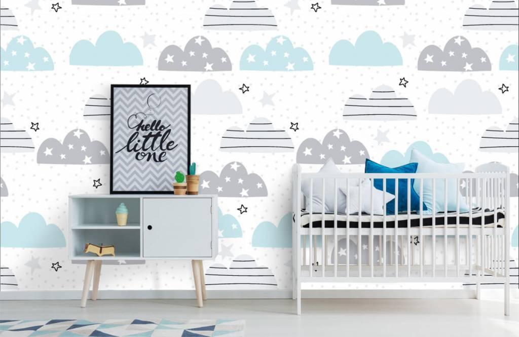 Baby Tapete - Gezeichnete Wolken - Babyzimmer 1