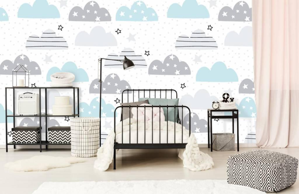 Baby Tapete - Gezeichnete Wolken - Babyzimmer 2