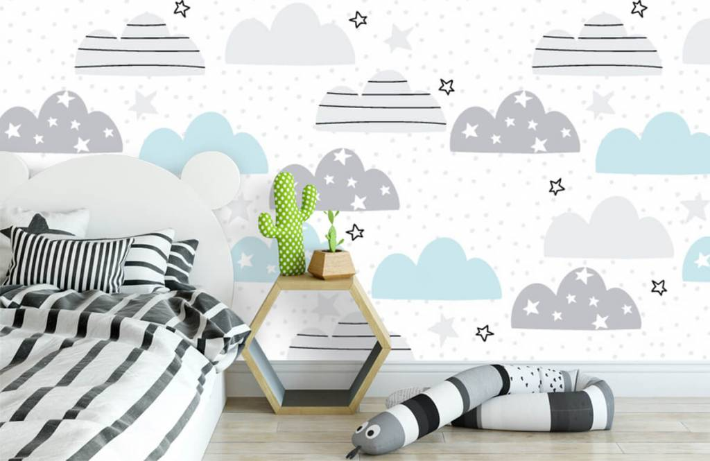Baby Tapete - Gezeichnete Wolken - Babyzimmer 3