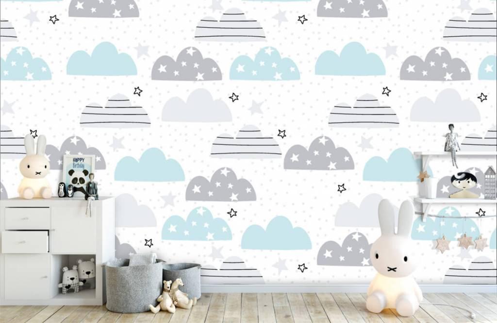 Baby Tapete - Gezeichnete Wolken - Babyzimmer 5