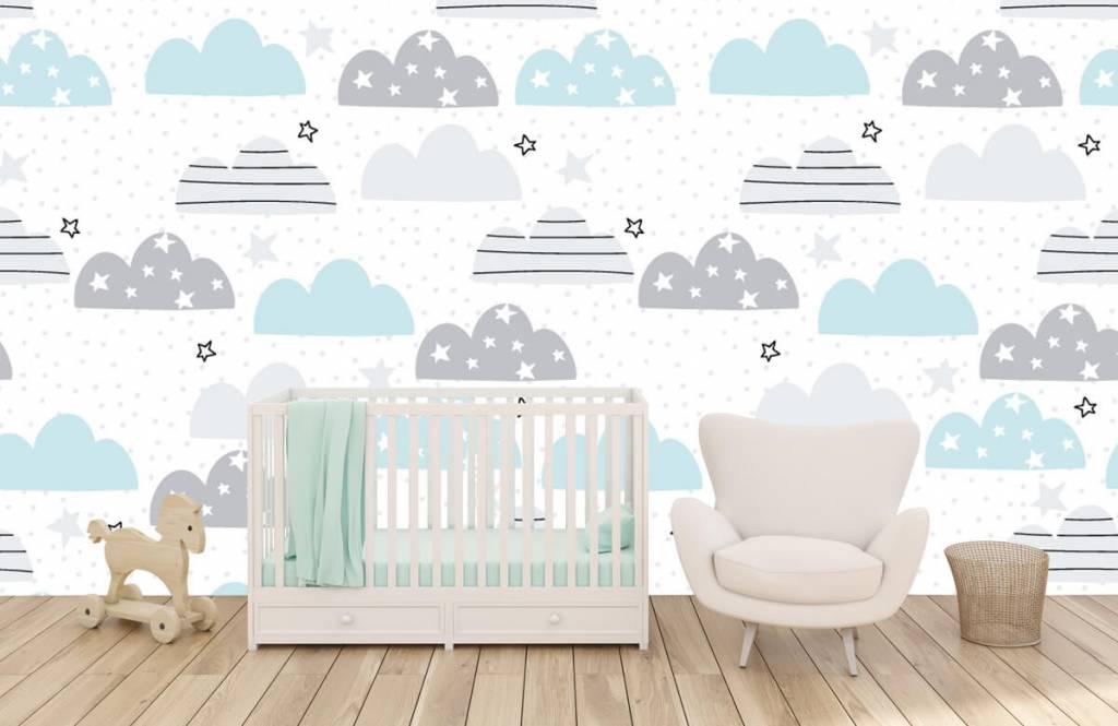 Baby Tapete - Gezeichnete Wolken - Babyzimmer 6