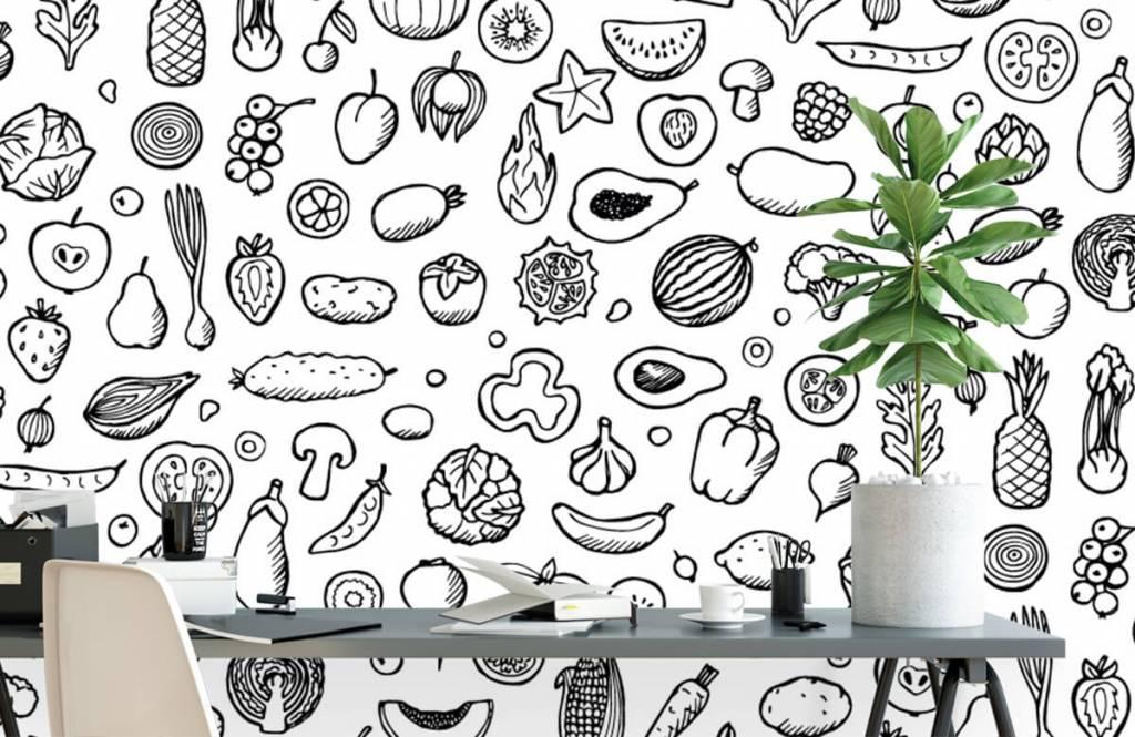 Andere - Gemüse und Obst schwarz-weiß - Küchen 2