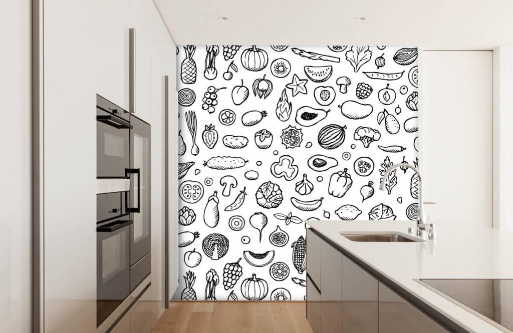 Andere - Gemüse und Obst schwarz-weiß - Küchen 4