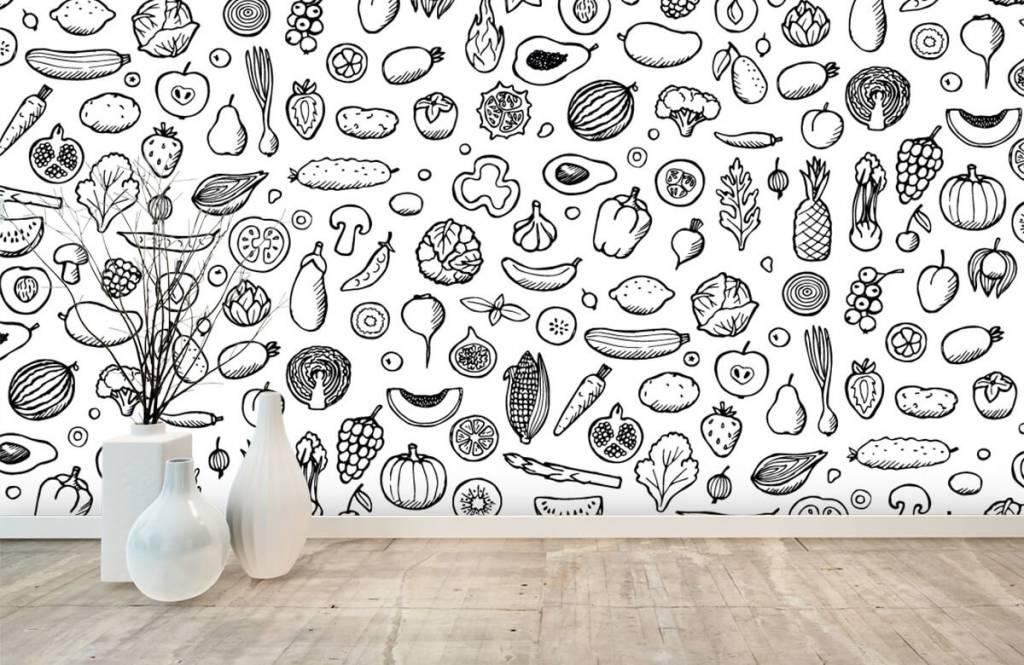 Andere - Gemüse und Obst schwarz-weiß - Küchen 7