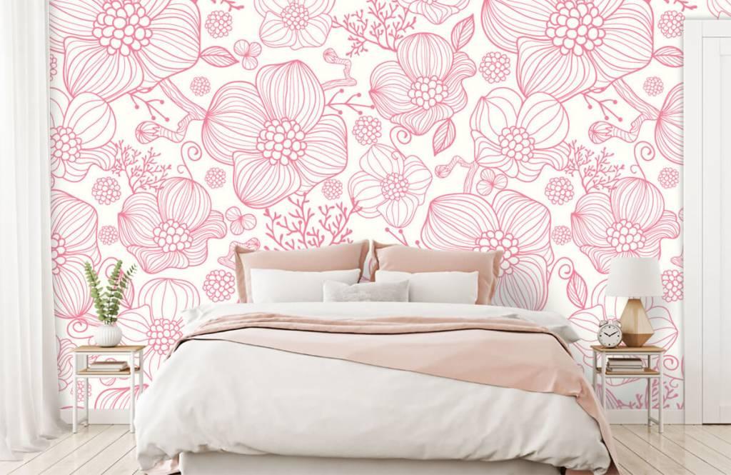 Muster für Kinderzimmer - Große rosa Blüten - Schlafzimmer 1