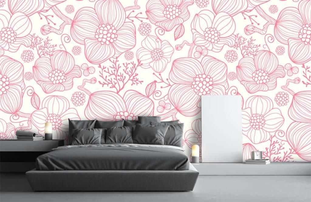 Muster für Kinderzimmer - Große rosa Blüten - Schlafzimmer 2