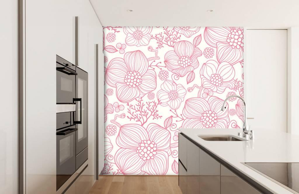 Muster für Kinderzimmer - Große rosa Blüten - Schlafzimmer 3